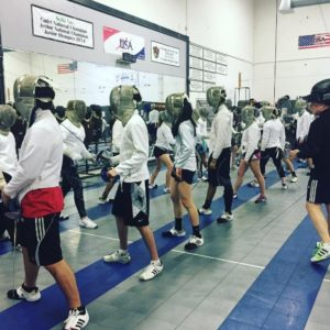 Photo of bladework drill during fencing camp